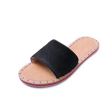 NVXZD Blanco negro ocasional de la PU del slingback del verano de las sandalias de las mujeres Negro