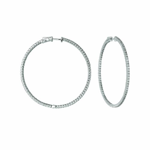 14K White Gold Hoop Earrings (patented snap lock) - 3ctw. Diamond