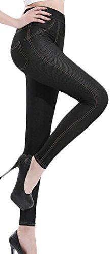 Cheap Papijam Womens Plus Size Stretch Tights Fashion Faux Denim Legging Pant for sale