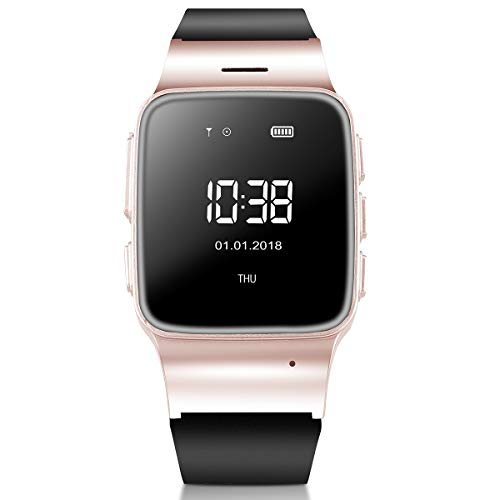 WiFi Smart Watch Elderly GPS Tracker Phone Call Smartwatch, Multifunctional LBS Precise Positioning Anti-Lost SOS Activity Tracker Smart Sport Watch Perdometer Android iPhones (Rose Gold)