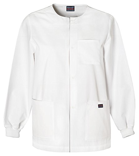 Cherokee Men's Men's Snap Front Warm-Up Jacket_White_XXXXX-Large,4450 by Cherokee