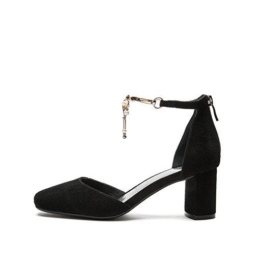 alla tacco donna Sandali Sandali moda da con Sandali basso Nero basso piatti estivi Tacchi tacco DHG alti casual Pantofole 36 a ICFpqX7Iw
