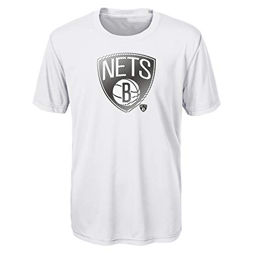 """NBA Brookyln Nets Kids & Youth Boys """"Motion Offense"""" Alt Color Performance Tee, White ,Youth Large(14-16)"""