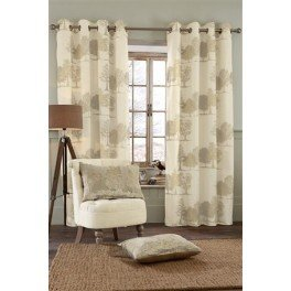 Next Woodland Tree Natural Eyelet Curtains Cotton Ringtop Panel In Beige 66x72 Inches Pair On Sale