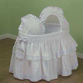 BabyDoll Pindot Bassinet Liner/Skirt and Hood, Blue Dots, 13''x29''