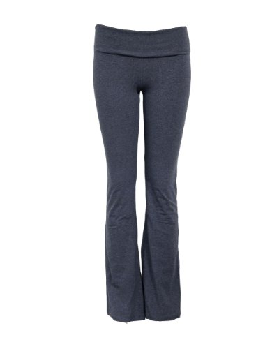 Unique Styles Fold-Over Waistband Stretchy Cotton Blend Yoga Pants