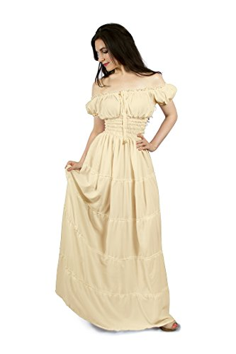 Renaissance Peasant Faire Gown Boho Hippie Sun Dress (S/M, Cream)