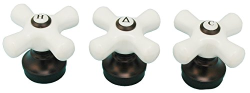 Porcelain Handle (3 Pieces) Fits Delta 3-handle Shower Faucet, Oil Rubbed Bronze Finish - By Plumb USA 32337bobx3
