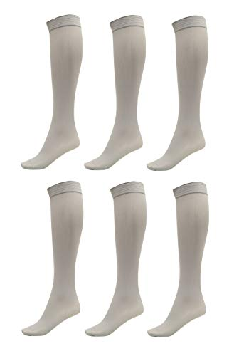 6 Pack of Women Trouser Socks with Comfort Band Stretchy Spandex Opaque Knee High, Silver