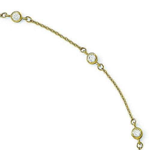 Or 14ct CZ poli avec 2,5cm ext. Bracelet de cheville-23cm