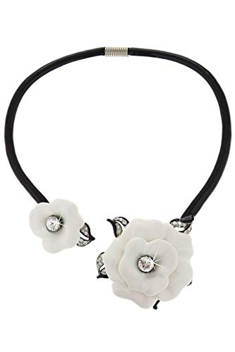 Kenneth Jay Lane Marena Floral Black White Necklace