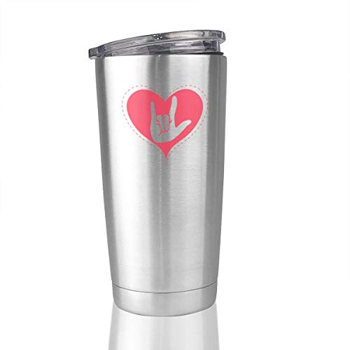 I Love You Sign Language Pink Heart 20 Oz Stainless Steel Vacuum Tumbler Travel Mugs Novelty Gifts -