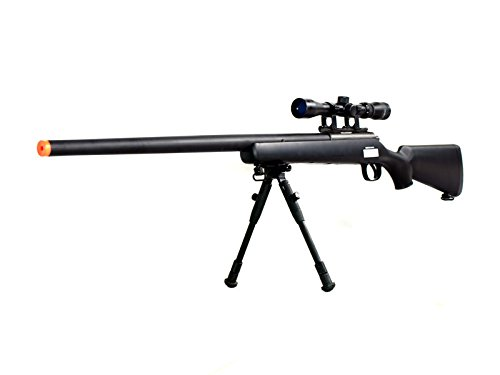 BBTac Airsoft Sniper Rifle VSR-10 - Bolt Action Powerful Spring Airsoft Gun with Hunting Scope and Bipod ()