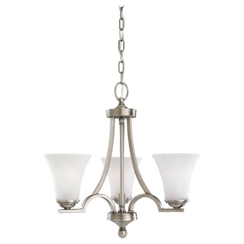 Sea Gull Lighting 31375-965 Three-Light Somerton Chandelier with Satin Glass Etched Glass, Antique Brushed Nickel - Home Somerton Furniture