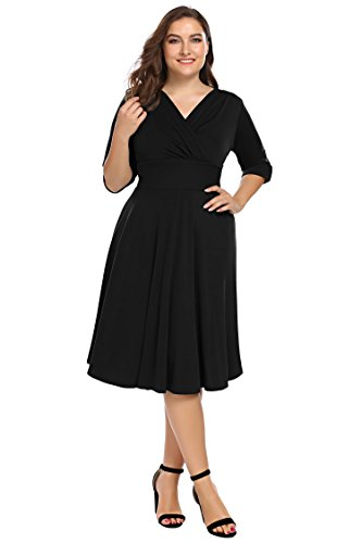 Involand Women's Plus Size Sexy Wrap Dress 3/4 Sleeve Midi Evening Party Dress,Black,20 Plus