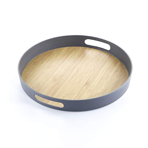 Colored Bamboo Dinner Service Set (Gray, Large Round Servng Tray 15 inches)