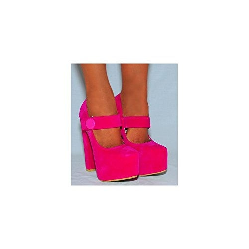 Ladies Womens Bright Fuchsia Pink Button Ankle Strap Mary Janes Faux Suede Court Block Heel Platforms High Heels Shoes 3-8 (UK5/EURO38) 3qvzf