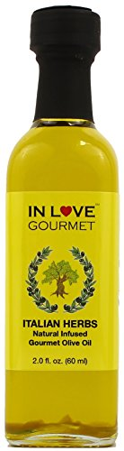 In Love Gourmet Italian Herbs Natural Flavor Infused Olive Oil 60ML/2oz (Sample Size) Awesome Gourmet Bread Dipping Oil, Salad Dressing Extra Virgin Olive ()