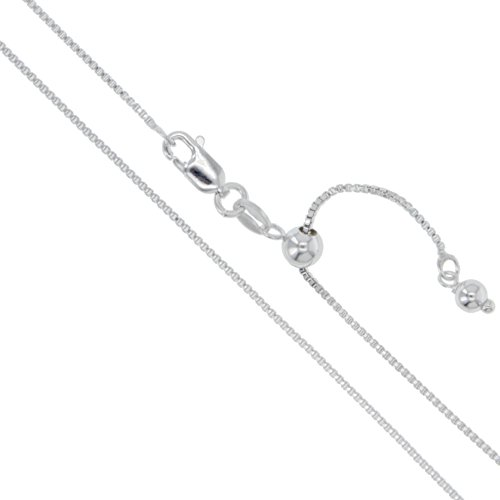 Sterling Silver Adjustable Box Chain 1.1mm Genuine Solid 925 Italy Necklace 22