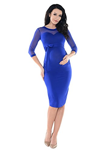 Purpless Maternity Ruched Bodycon Pregnancy Dress with Elastic Mesh Panel D012 (12, Royal ()