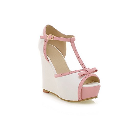 VogueZone009 Womens Open Peep Toe High Heel Wedge Platform PU Soft Material Solid Sandals with Bowknot White BF94bOz2L