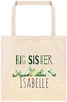 Mountain Range Big Sister - Bolsa de regalo personalizada de algodón para hermanas grandes de regalo de acuarela, montañas, rústico, regalo para baby shower
