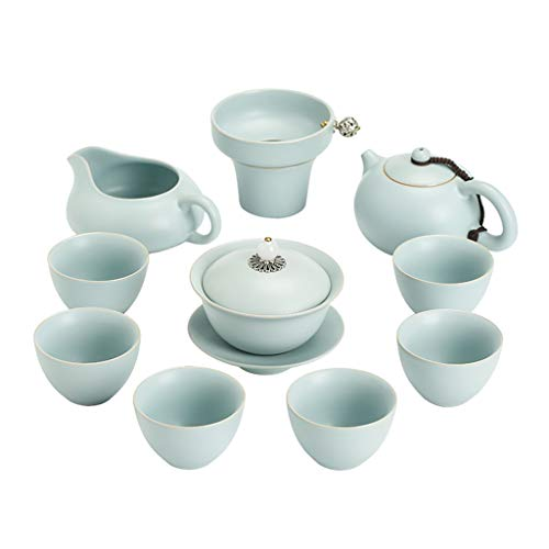 Teapots & Coffee Servers Ceramic Kung Fu Tea Set Household Teapot Tea Cup Deluxe Packaging Tea Cover Bowl Household Teapot Best Gift (Color : Blue)