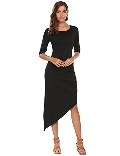 Ruched Keyhole - Misakia Women O Neck 3/4 Sleeve Bodycon Dress (Black M)