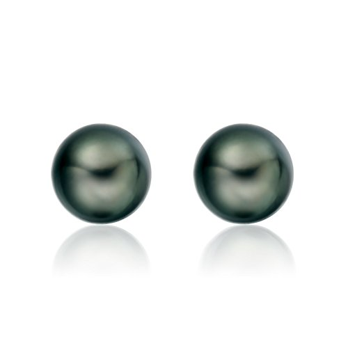 CHAULRI Real 14K Gold AAAA 8-9mm Tahitian Cultured Black Pearl Stud Earrings Round - Birthday Anniversary Jewelry Gift for Women