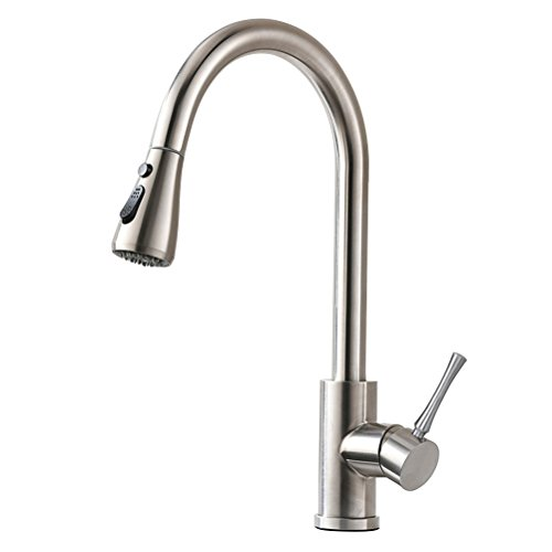 HOMY Kitchen Faucets with Pull Down Sprayer, SUS304 Stainless Steel Brushed Nickel, Hot & Cold Water Kitchen Sink Faucet with Two-function Nozzle, Single Handle Kitchen Faucet with Sprayer by HOMY