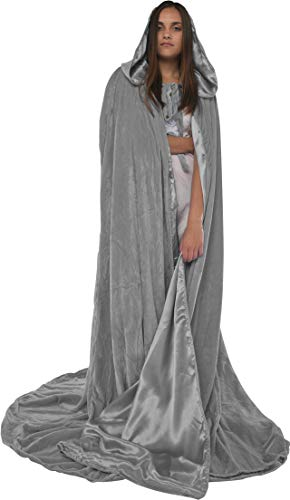 Artemisia Designs Velvet Hooded Renaissance Cloak Medieval Cape Lined with Satin Men and Women Grey