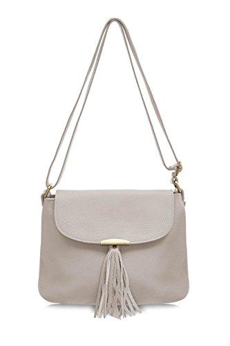 Grey Italian Light Soft Shoulder Montte Women's Body 100 Bag Di Women Tassel for Cross Jinne Gift Leather with Bag tqnHUw4TH