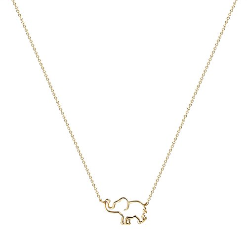 - Valloey Elephant Pendant Necklace, Dainty Jewelry 14K Gold Plated Animal Chain Necklaces