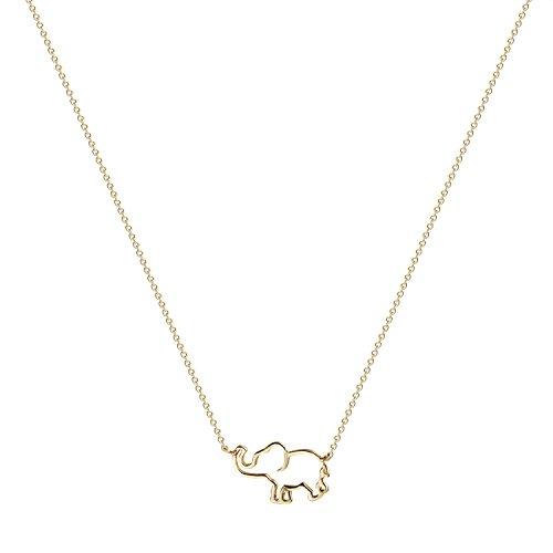 Fettero Charm Gold Elephant Pendant Necklace-Womens Dainty 14K Gold Filled Friendship Hollow Tiny Good Luck Elephant Necklace Jewelry (Elephant Gold Pendant Charm)