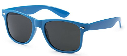 Neon Lens - WebDeals - Sunglasses Classic 80s Style Assorted Color Frames and Lenses (Neon Blue, Smoke)