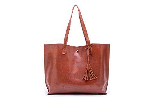 Nodykka Women Tote Bags Top Handle Satchel Handbags PU Pebbled Leather Tassel Shoulder Purse (Roll Tote Bags)