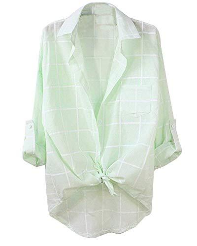Modern Stile Bavero 4 Di Blassgr Giovane Elegante Blusa Shirts Vintage Donna Hipster Prodotto Grazioso 3 Moda Camicia Reticolo Boscaiolo Plus Da Casuali Manica Camicetta Estivi xUPOPqT