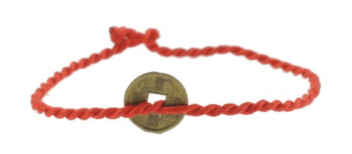 Handmade Replica Old Chinese Coin Red String Bracelet, Kabbalah Red String Bracelet