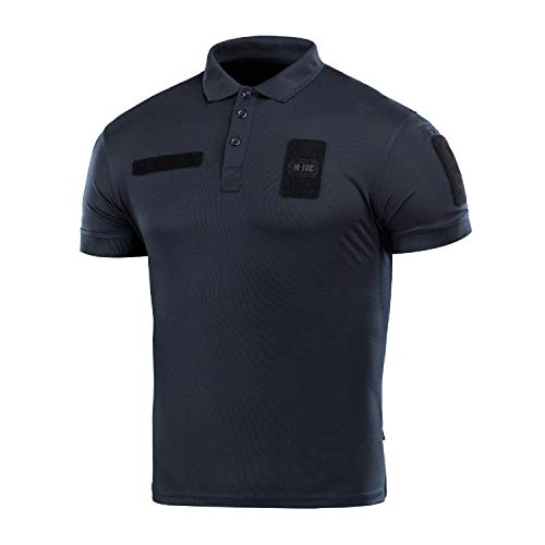 M-Tac Tactical Polo Coolmax Shirt Duty Uniform Moisture Wicking Short Sleeve Mens T-Shirt (Dark Navy Blue, M)
