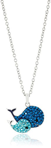 Silver-Plated You & Me Crystal Whales Pendant Necklace, 18'' by Amazon Collection (Image #1)