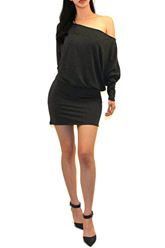 ff Shoulder Batwing Kimono Bodycon Mini Jersey Knit Dress (CH.Gray, X-Large) ()