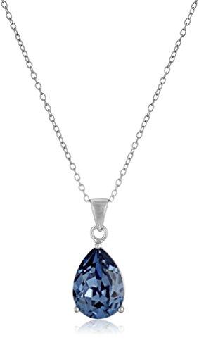 Sterling Silver Swarovski Crystal Blue Teardrop Pendant Necklace, 18