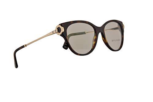 Bvlgari BV4144B Eyeglasses 52-17-140 Dark Havana w/Demo Clear Lens 504 BV 4144-B Bulgari ()