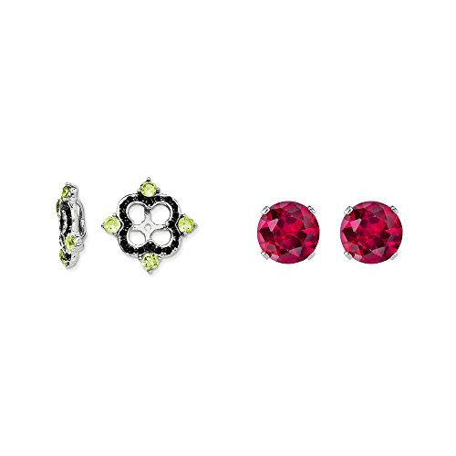 Sterling Silver Simulated Peridot, Black Simulated Sapphire Earring Jacket + 2mm Red CZ Stud Earrings by Mireval
