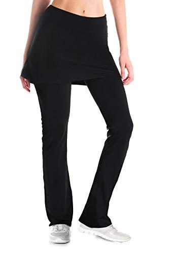 Yogipace Regular/Tall Womens Modest Bootcut Workout Pants with Skirt, Running, Golf, Tennis Ball Pockets