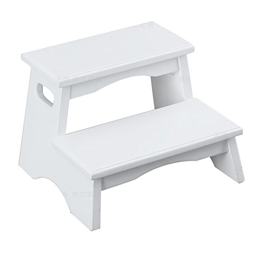 olid Wood Ladder Stool Kindergarten Bathroom Wash Hands Shoe Bench Ash Wood, 2 Steps 3 Colors Building Supplies (Color : White) (Ash Bench)