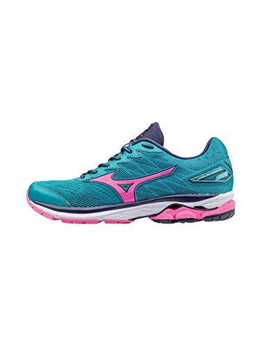Mizuno Running Women's Wave Rider 20 Shoes, Tile Blue/Pink Glo/Peacoat, 9.5 B US ()