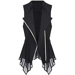 Tanming Womens Slim Asymmetric Chiffon Cardigan Vest Jacket Long Clip Waistcoats (Large, Black)
