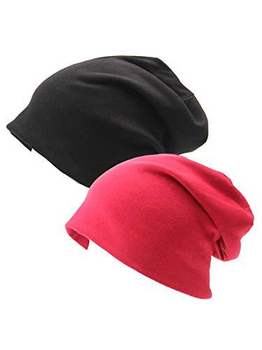 Stars Black Beanie - Century Star Unisex Baggy Lightweight Hip-Hop Soft Cotton Slouchy Stretch Beanie Hat W Black Red 2 Pack