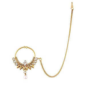 Aheli Indian Wedding Nath AD Nose Ring Hoop with Link Chain Ethnic Traditional Bollywood Jewelry for Women